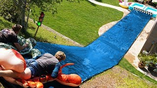 We built a Water Slide Race Track in our Backyard!!