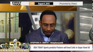 ESPN First Take (8/4/15):   USA TODAY Sports Predicts Packers Will Defeat Colts in Superbowl 50
