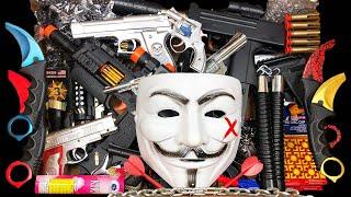 Hacker Weapon Box! Explosives and Dangerous Toy Guns - Sharp Karambit Knives - Box of Toy Guns