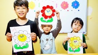 Hunter Kids Go To School Learn Colors Flower | Classroom Funny Nursery Rhymes