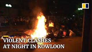 After a generally calm day in Hong Kong, fresh violence erupted at night in Kowloon
