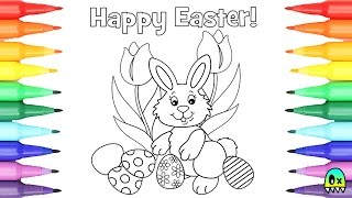 Coloring Pages Happy Easter Bunny and Easter Eggs I Fun Coloring Videos for Kids