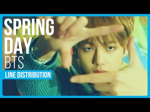 BTS - Spring Day (봄날) Line Distribution (Color Coded)