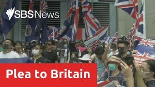 Protestors in Hong Kong call on the UK to mount pressure on China