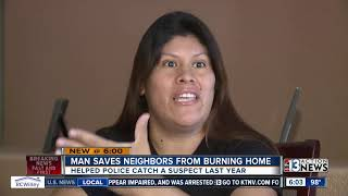 Las Vegas plumber saves neighbor from burning home, saves police officer in less than a year