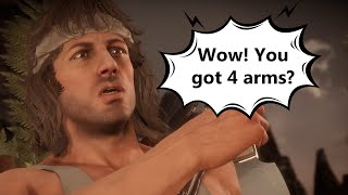 Mortal Kombat 11 - Rambo Meets Fighters for the First Time