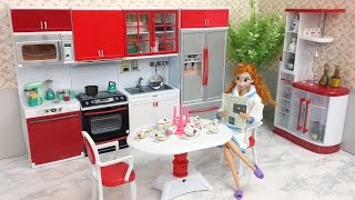 Barbie doll Deluxe Kitchen set with Dining Table set