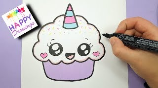 HOW TO DRAW A CUTE CUPCAKE UNICORN - SUPER EASY AND KAWAII