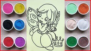Đồ chơi trẻ em, TÔ MÀU TRANH CÁT THIÊN THẦN ĐANG NGỦ - Colors sand painting angel  toys (Chim Xinh)