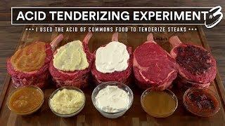 Steak TENDERIZING EXPERIMENT 3 Tested! Apple, Sour Cream, Lemon, Blue Berry & Vinegar!