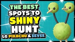 Four BEST PLACES to SHINY HUNT in Pokemon Lets Go Pikachu and Eevee - How to get Easy Shinies!