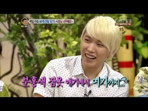 120723 Sungmin's pink obsession revealed once again :) @ KBS Hello (SUPER JUNIOR)