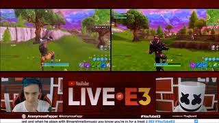Ninja and Marshmello in E3 Fortnite Tournament Pro Am at the YouTube Live at E3 Studio