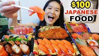 $100 SUSHI FEAST!! Fatty Tuna Sashimi, Nigiri, & Noodles | Japanese Food Mukbang w/ Eating Sounds