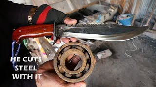 MAKING A RAMBO KNIFE STYLE FROM RUSTY BEARING AND TEST IT BY CUTTING STEEL
