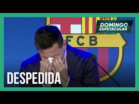 Lionel Messi se emociona no adeus ao Barcelona