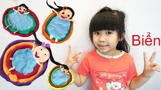 Trò Chơi Nặn Mô Hình Gia Đình Bé Bún Tắm Biển – Đồ Chơi Trẻ Em Cát Xốp ♥CreativeKids ♥