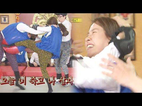 송지효-이광수, 머리채 잡고 육탄전! @런닝맨 20150531