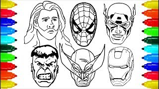 Spiderman Iron Man Wolverine  Thor Coloring Pages   Colouring Pages for Kids with Colored Markers