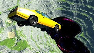 BeamNG drive - Car Jumps & Falls Into Giant Black Hole
