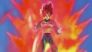 Vegeta goes super saiyan god (RED) for the first time in slowmo