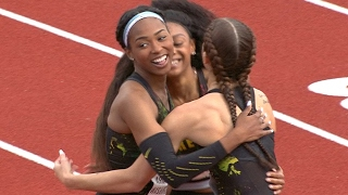 2017 Pac-12 Track & Field Championships: Deajah Stevens paces as Oregon women complete 100m sweep