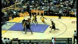 Allen Iverson 48 pts, nba finals 2001, lakers vs 76ers game 1