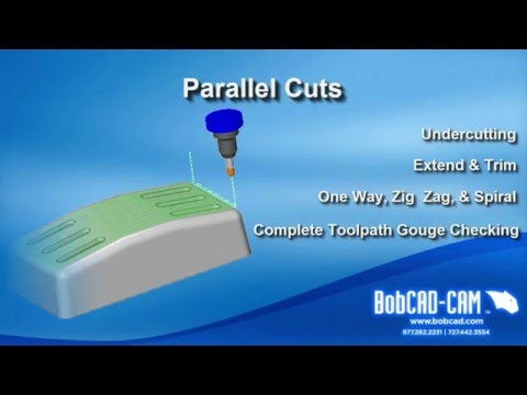 Surface Based CAD-CAM Toolpath Strategy - Parallel Cuts 2 - BobCAD-CAM