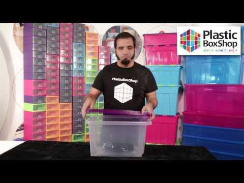 Pack of 5 - 30 Litre Uni Plastic Storage Boxes with Lids