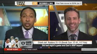 ESPN FIRST TAKE (12/9/2016) Derek Carr: Raiders 'Got Punched In The Mouth' In Loss