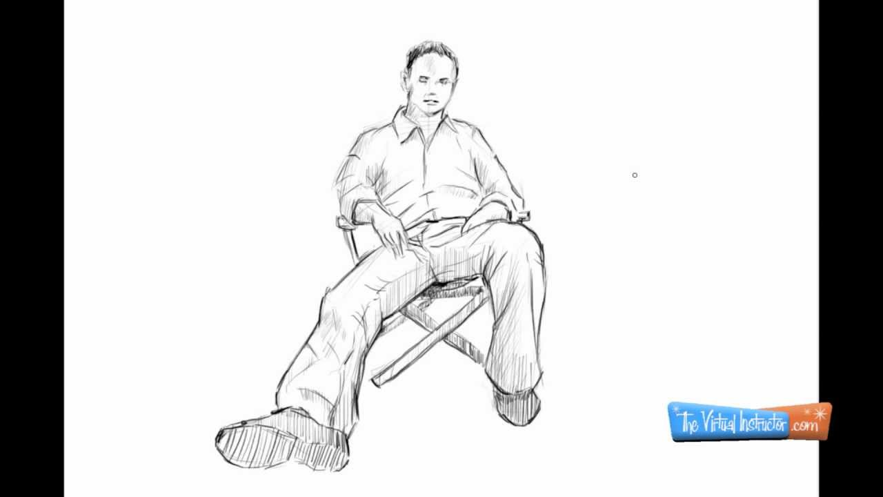 How To Draw A Person Sitting Down - YouTube