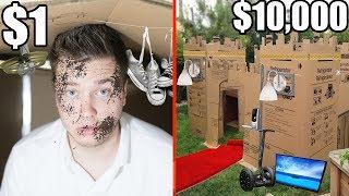 $1 BOX FORT Vs $10,000 BOX FORT CHALLENGE