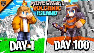 I Survived 100 Days of Minecraft on a VOLCANIC ISLAND & here's what happened...