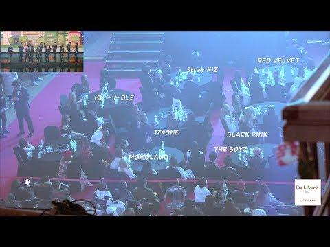 BLACK PINK, RED VELVET, STRAYKIZ, (G)-I-dle, IZ*ONE, MOMOLAND Reaction to Seventeen Stage 4K 190123