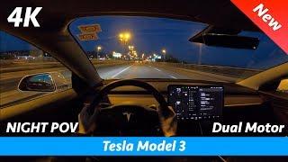 Tesla Model 3 - Night POV test drive and FULL review in 4K   LED headlights in dark, 0 - 100 km/h