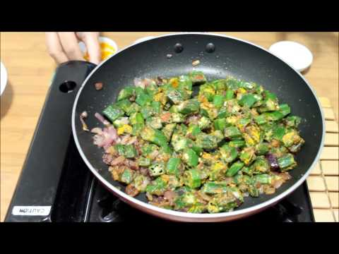 Bhindi/ Okra fry with Onions Recipe-Crispy Bhindi Fry Recipe-How to ...