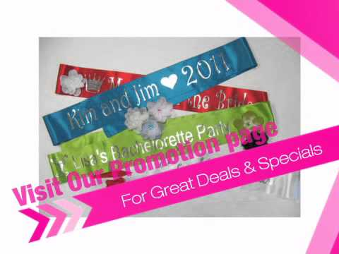 Custom Personalized Sash with Choice of Colors and Fonts! - AdvantageBridal.com