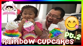 KIDS SIZE COOKING - RAINBOW CUPCAKE - LEARN COLORS Part 2 🎈 BAKE WITH CLAIRE & DADDY