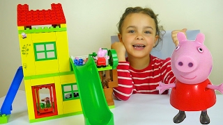Peppa Pig Toy House Building Sets with Kinder Surprise Eggs and Play Doh Peppa Dough