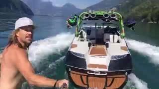 Man Wakeskates Behind Boat with No Driver
