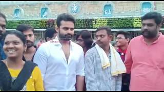 Hero Sai Dharam Tej offers prayers at Tirumala..