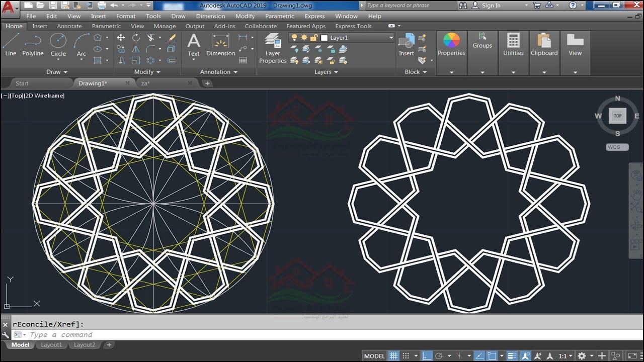 عمل زخرفة إسلامية جميلة على الاتوكاد (Draw a Nice Islamic Geometric Pattern  in AutoCAD)