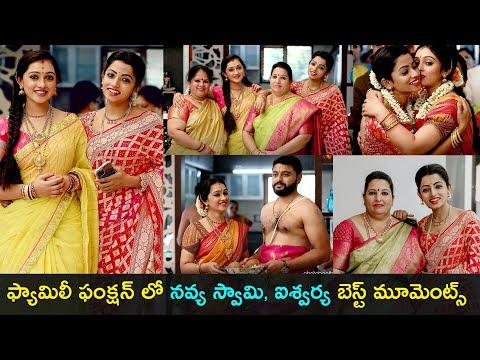 Tv actresses Navya Swamy & Aishwarya Pisse at family function