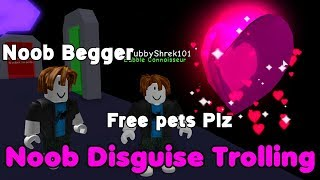 Noob Disguise Trolling With Soul Heart! More Bullies! - Bubble Gum Simulator Roblox