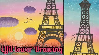 Beautiful Effil tower drawing | Painted by my student
