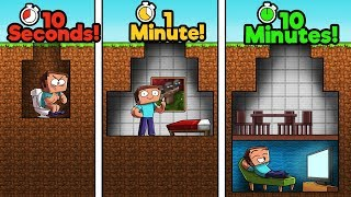 Minecraft - NOOB vs PRO vs HACKER - BUNKER! (10 Sec vs 1 Min vs 10 Min)