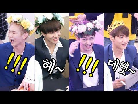 샤이니 SHINee : 큰 화관 받은 멤버들 웃긴 반응 large corolla reaction : Fancam : 팬사인회 : 고양 스타필드