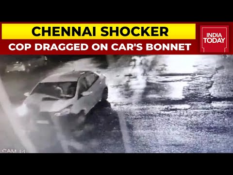 Video: Chennai cop trying to stop kidnappers dragged on car's bonnet