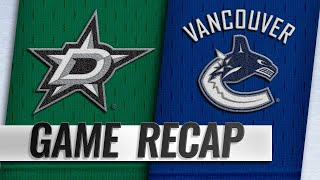Stars rally in the 3rd to beat Canucks