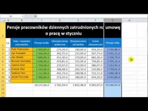 Kurs Microsoft Excel 2010 odcinek 19 - Funkcja sumowania